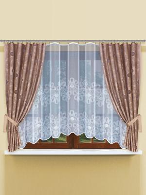 Комплект штор Haft. Цвет: светло-коричневый, белый
