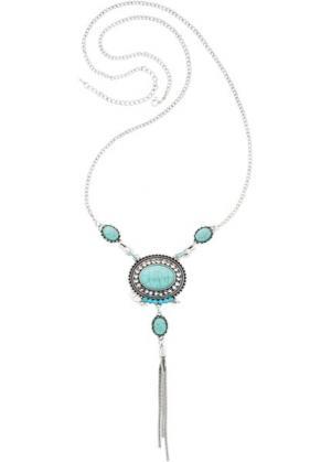 Длинная цепочка в богемском стиле (античный серебристый/бирюзовый) bonprix. Цвет: античный серебристый/бирюзовый