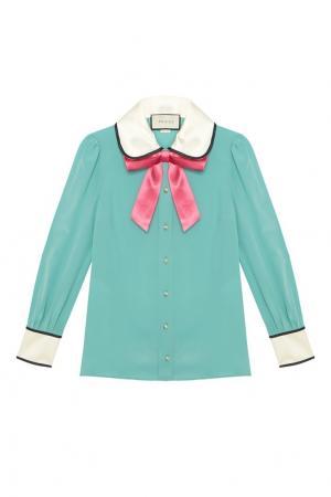 Шелковая блузка Gucci. Цвет: голубой