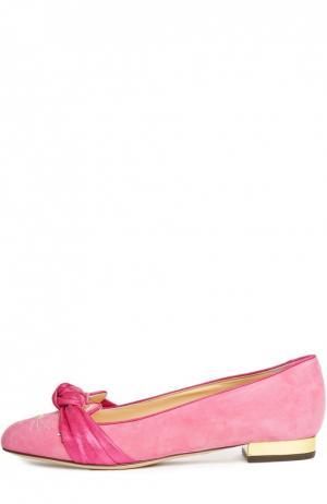 Замшевые балетки Eccentric Kitty Charlotte Olympia. Цвет: розовый