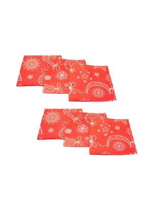 Салфетки Новогодняя цепочка BELLINO HOME. Цвет: красный, белый
