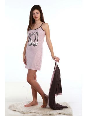 Комплект с пеньюаром ХОУМ СТАЙЛ. Цвет: коричневый, розовый