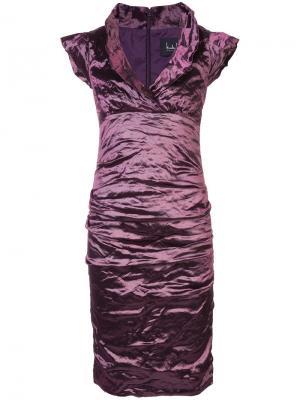 Приталенное платье Nicole Miller. Цвет: розовый и фиолетовый