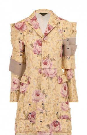 Приталенное пальто с декоративной отделкой и цветочным принтом Comme des Garcons. Цвет: разноцветный