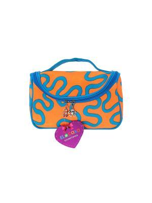 Косметичка - сумочка Оранжевая с узором EL CASA. Цвет: оранжевый, голубой