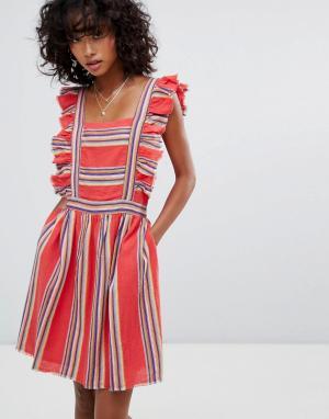 D.RA Платье с оборкой Malibu. Цвет: красный