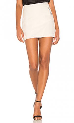 Мини юбка с люверсами Michelle Mason. Цвет: белый