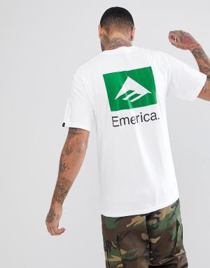 Emerica Белая футболка с принтом на спине. Цвет: белый