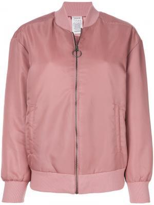 Куртка-бомбер на молнии Reebok. Цвет: розовый и фиолетовый