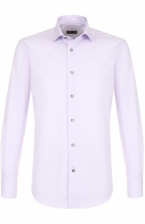 Хлопковая сорочка с воротником кент Lanvin. Цвет: сиреневый