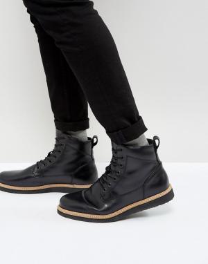 Zign Кожаные ботинки на танкетке со шнуровкой. Цвет: черный