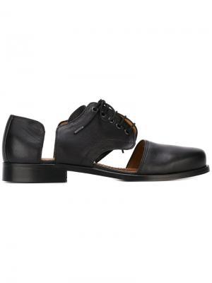 Туфли на шнуровке с вырезными деталями Minimarket. Цвет: чёрный