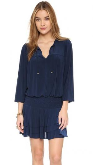 Мини-платье с каплевидными вырезами MISA. Цвет: темно-синий