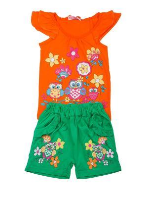 Комплект: футболка, шорты Sladikmladik. Цвет: оранжевый, зеленый
