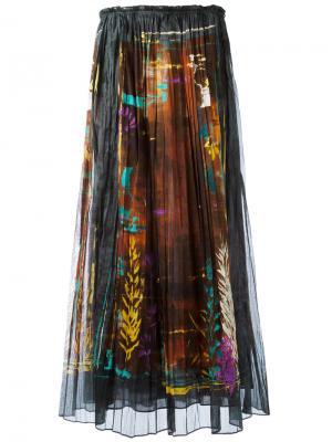 Плиссированная юбка с принтом Valentino. Цвет: многоцветный