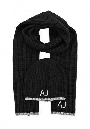 Комплект шапка и шарф Armani Jeans. Цвет: черный