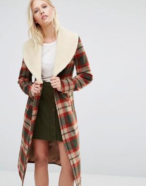Cooper & Stollbrand Пальто в клетку с воротником из искусственной овечьей шерсти. Цвет: мульти