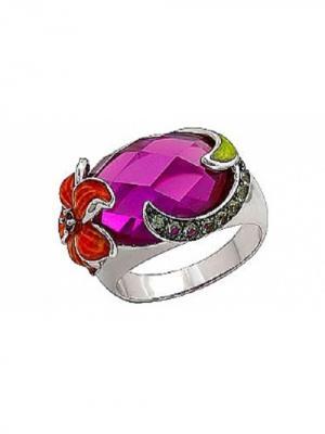 Кольцо с имитац. шпинели, корунда и фианитом Магия Золота. Цвет: серебристый