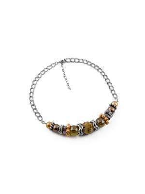 Дизайнерское ожерелье FOXTROT. Цвет: светло-коричневый