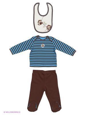 Комплект из 3-х предметов Обезьянки: кофточка, ползунки и слюнявчик. Little Me. Цвет: голубой, коричневый
