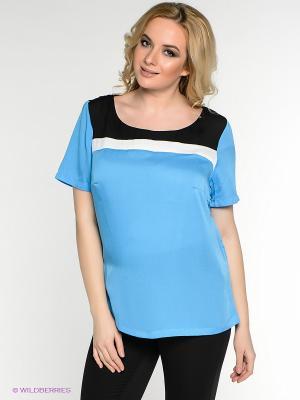 Блузка Oodji. Цвет: голубой, белый, черный