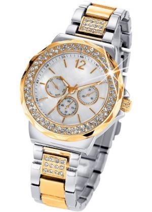 Часы Tiara в дизайне под хронограф (биколор/серебристый/золотистый) bonprix. Цвет: биколор/серебристый/золотистый
