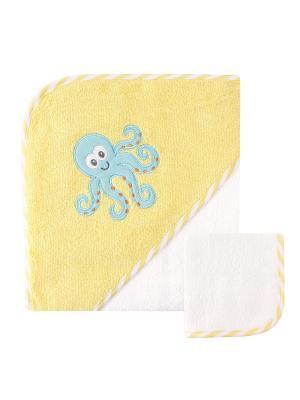 Полотенце с капюшоном и салфетка для купания Luvable Friends. Цвет: желтый