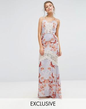 Hope and Ivy Платье макси с принтом, открытой спиной и кружевными вставками &. Цвет: мульти