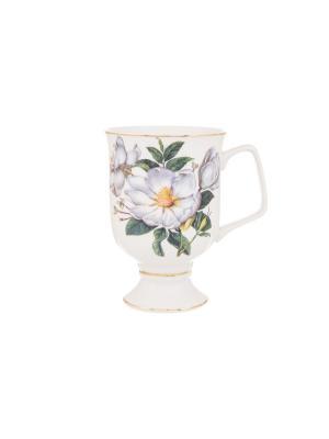 Кружка для капучино и кофе латте Белый шиповник Elan Gallery. Цвет: зеленый, белый