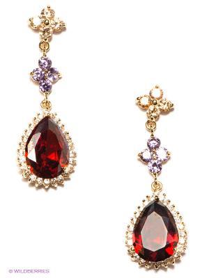 Серьги Lovely Jewelry. Цвет: золотистый, бордовый
