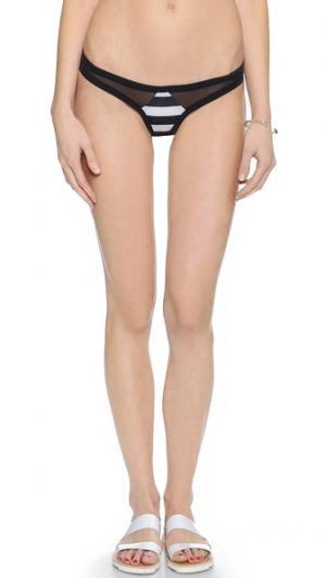 Двусторонние плавки бикини Austin Tyler Rose Swimwear. Цвет: черно-белая полоска/белый