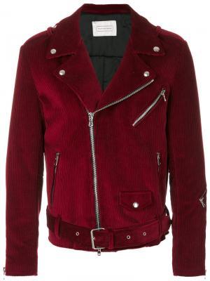 Вельветовая байкерская куртка Route Des Garden. Цвет: розовый и фиолетовый