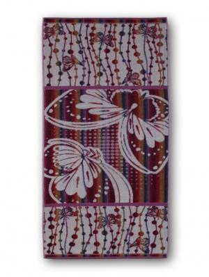 Полотенце махровое пестротканое жаккардовое 50x120см Загадка Авангард. Цвет: сиреневый,белый