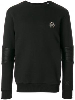 Толстовка с контрастными рукавами и логотипом Philipp Plein. Цвет: чёрный