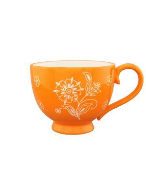 Кружка Цветочное оранжевое поле Elan Gallery. Цвет: оранжевый