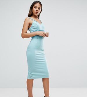 Taller Than Your Average Платье-футляр с отделкой в стиле корсета и сетчатыми вставками TTYA BL. Цвет: синий
