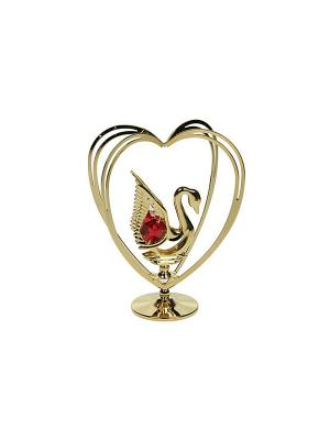 Фигурка декоративная Лебедь CRYSTOCRAFT. Цвет: золотистый, красный