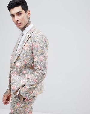 Gianni Feraud Приталенный пиджак из ткани с добавлением льна цветочным принтом Gia. Цвет: светло-бежевый