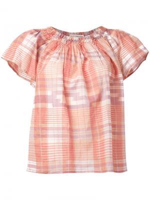 Блузка в клетку с открытыми плечами Ulla Johnson. Цвет: розовый и фиолетовый