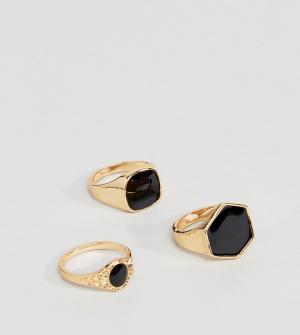 DesignB London 3 золотистых кольца с черным камнем эксклюзивно для ASOS. Цвет: золотой