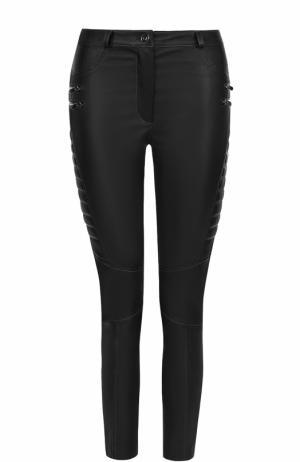 Укороченные кожаные брюки-скинни DROMe. Цвет: черный