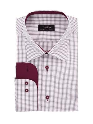 Рубашка CASINO. Цвет: темно-красный, белый
