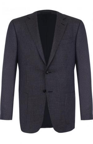 Однобортный пиджак из смеси шелка и льна с шерстью Ermenegildo Zegna. Цвет: синий