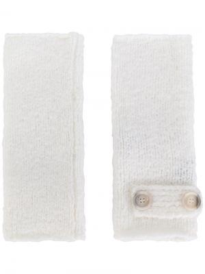 Перчатки без пальцев Eleventy. Цвет: белый