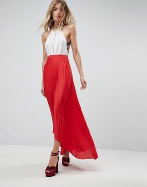 ASOS Плиссированная юбка макси с асимметричным краем. Цвет: красный