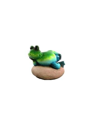 Садовая фигура - Лягушонок на камне Marquis. Цвет: зеленый, коричневый