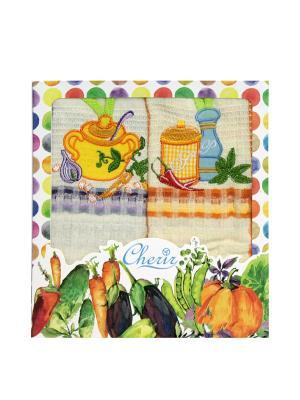 Набор вафельных полотенец - 2 шт. (45*68) Dorothy's Нome. Цвет: оранжевый, фиолетовый