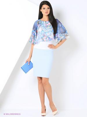 Блуза с пелериной ADZHEDO. Цвет: белый, голубой
