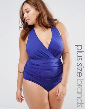Robyn Lawley Слитный купальник с запахом и глубоким вырезом. Цвет: синий