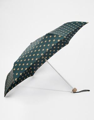 Cath Kidston Зеленый зонт в горошек с 2 кнопками Minilite. Цвет: зеленый